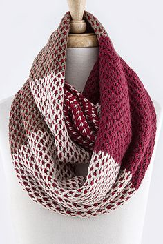 Colorblock Knit Infinity Scarf in Red