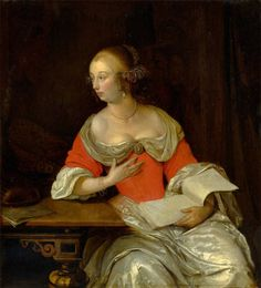 ca. 1667 Eglon van der Neer - Noble lady with lute and sheets of music, sitting on a table