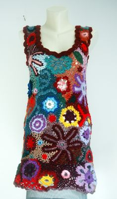 """""""Multi-color Freeform Crochet Tunic""""! This would make a marvellous shawl or afghan"""