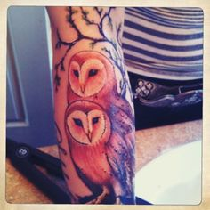 barn Owl Tattoos | :My barn owls. Work done by Evan McMichael at Steadfast Tattoo ...