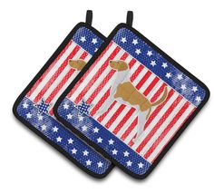 USA Patriotic American Foxhound Pair of Pot Holders BB3298PTHD