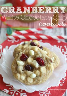 Cranberry White Chocolate Chip Cookies | Belle of the Kitchen