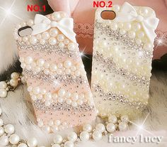 iPhone 4 Case, iPhone 4s Case, iPhone 5 Case, Valentine iphone case, Best iphone 5 case pearls, Cute iphone 5 bow case,  iphone 4 bling case. $16.98, via Etsy.