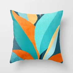 Abstract Tropical Foliage Throw Pillow by moderntropical - Cover x with pillow insert - Indoor Pillow Orange Throw Pillows, Fluffy Pillows, Couch Pillows, Cushions On Sofa, Down Pillows, Accent Pillows, Sofa Bed, Modern Tropical, Tropical Decor