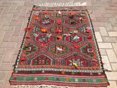 Lovely embroidered kilim rug, Vintage Turkish kilim rug, dowry rug, small area rug, kilim rug, vintage rug, bohemian rug, bathroom rug, rug