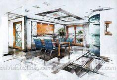 Innenausstattung Simulation Interior Skizze Architektur Innenarchitektur Marker Zeichnungen Handskizze Skizzen Design Stifte