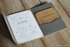 DIY Wedding Invitations I Upcycled Treasures - DIY wedding invitations with a FREE wedding invitation template! if I did something like this I'd just use the outside to put the address rather than putting the whole thing in an envelope