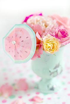 cocktailschirmchen mit wasserfarben  wunderschön-gemacht: wasser(melonen)farben
