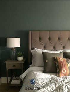 The 7 Best DARK Colours for a Dark Room or Basement. Guest bedroom showing Benjamin Moore Knoxville Gray, a blue, green, gray paint colour with a taupe greige upholstered headboard. Kylie M Interiors Edesign, online paint colour consultant Blue Gray Paint Colors, Blue Green Paints, Bedroom Paint Colors, Gray Color, Paint Colours, Blue Green Rooms, Gray Yellow, Dark Blue, Benjamin Moore Gray