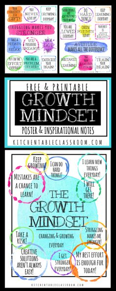 Positive Affirmations for Kids-Printable Growth Mindset Notes & Poster - The Kitchen Table Classroom Growth Mindset Activities, Growth Mindset Posters, Growth Mindset Display, Growth Mindset Classroom, Positive Affirmations For Kids, Positive Mindset, Science Quotes, Learning Quotes, Art Therapy Children