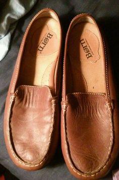 Børn Women's 7.5 Soft Brown Leather 'Henna' Bug Slip on Flat Mules Loafers EUC #Brn #Mules