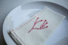 The designs are created using freehand machine embroidery. Freehand Machine Embroidery, Embroidery Patterns, Cotton Napkins, Napkins Set, Cross Stitch, Rooms, Inspiration, Design, Needlepoint Patterns