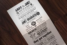 Story wedding invitations