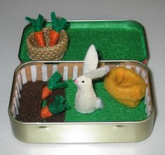 Rabbit garden play set in Altoid tin - with felt rabbit, carrots, basket and snuggle bag