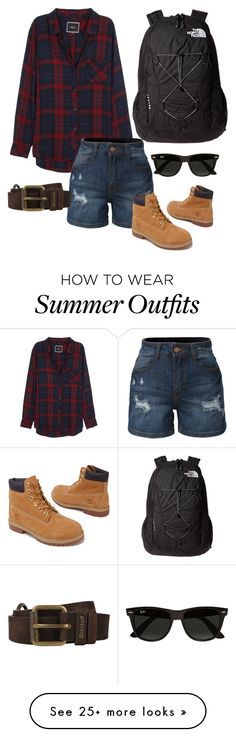 """Summer Hiking Outfit"" by carly-jae on Polyvore featuring Rails, LE3NO, Timberland, The North Face, Belstaff and Ray-Ban"