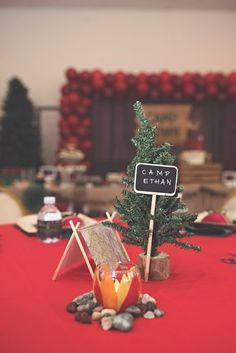 Camping Centerpieces Campfire Party First Birthday Centerpiece Pine Tree Campsite Paper Tent Rocks Trees Table Decor Camp Site Decorations Plaid Lumberjack Woodland