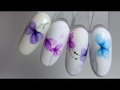 АКВАРЕЛЬНЫЕ цветы. ТОП 2019 года. САМЫЕ воздушные дизайны. Юлия Голубкова - YouTube Sand Nails, Aqua Nails, Polygel Nails, Cute Nails, Manicure, Nail Art Designs Videos, Nail Art Videos, Flower Nail Designs, Acrylic Nail Designs