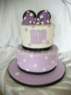 Purple Minnie mouse cake happy first birthday