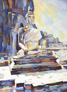 Watercolor painting of Seated Buddha at Sukothai archaeological ruins- Sukothai, Thailand : drawing Watercolor Print, Watercolor Paintings, Original Paintings, Watercolor Paper, Original Artwork, Thailand Art, Buddhist Art, Yellow Painting, Colorful Paintings