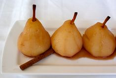 Historically poached pears were served in Europe as a delicacy for their royal families. These Poached Pears in Spiced Syrup are appropriate for us regular folks too! Poached Pears in Spiced Syrup Typically simmered in Fruit Recipes, Fall Recipes, Real Food Recipes, Scd Recipes, Pear Recipes, Holiday Recipes, Diet Desserts, Delicious Desserts, Pomes