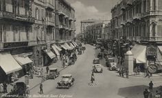 Saad Zaghlool Boulevard in Alexandria, Egypt (photographed in the 1880s - 1940s).