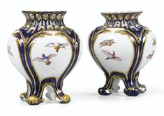 c1753-4 A PAIR OF VINCENNES SOFT-PASTE PORCELAIN TROISIÈME GRANDEUR POTS-POURRIS DATED 1753-1754 Estimate  10,000 — 15,000  EUR 13,784 - 20,675USD LOT SOLD. 11,000 EUR (15,162 USD) (Hammer Price with Buyer's Premium)