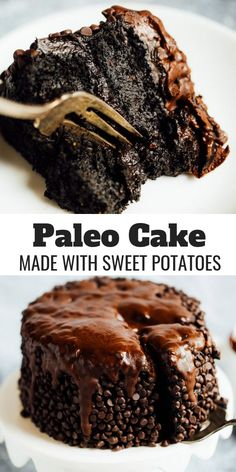 vegan Blackout healthy paleo chocolate cake made with sweet potatoes. Best gluten free chocolate cake- made with sweet potato and avocados! An easy paleo birthday or celebration cake that is moist and delicious. Healthy Chocolate Desserts, Chocolate Sin Gluten, Gluten Free Chocolate Cake, Mini Desserts, Healthy Dessert Recipes, Healthy Desserts, Cake Chocolate, Delicious Chocolate, Healthy Cooking