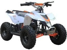 24v Mini Quad v3 White By MotoTec | White - FRONT VIEW