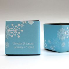 Boite dragées motif flocon - Winter Finery Cube Favor Box Wrap
