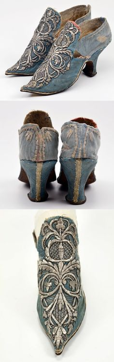 A pair of women's high heel shoes c.1700, Covered with floral blue silk damask . Embroidered in silver thread | Museum Weissenfels - Schloss Neu- Augustusburg