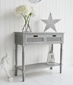 British Colonial Furniture Range A grey console table Affordable