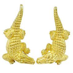 Barry Kieselstein-Cord Gold Alligator Cufflinks | See more rare vintage Cufflinks at https://www.1stdibs.com/jewelry/cufflinks/cufflinks