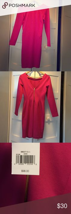 Banana republic pink sheesh dress with back zipper NWT, banana dress with low v back and gold zipper detail Banana Republic Dresses Long Sleeve