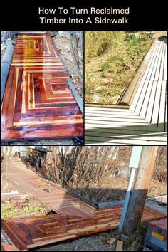 How To Turn Reclaimed Timber Into A Sidewalk  Revamp the outdoors of your home by upcycling old reclaimed timber into a safe sidewalk for the winter.