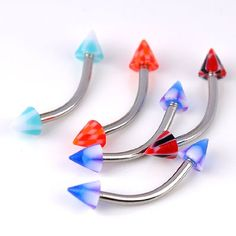 * Penny Deals * - PiercingJ 20pc Colorful Uv Spike Stud Eyebrow Ring Curved Barbells Piercing Stee... *** Be sure to check out this awesome product.