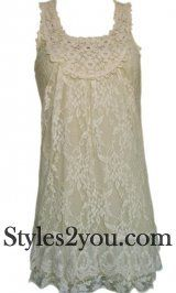 Antique Lace Tunic In Beige - styles2you.com I love this! Perfect for summer in Arizona!