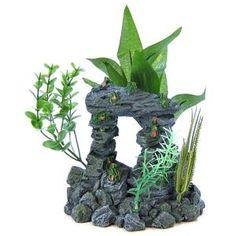 Blue Ribbon Pet Products Blue Ribbon Rock Arch with Plants Aquarium Ornament