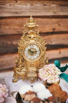 Alice in Wonderland Gold Clock Decor // OneWed. Alice in Wonderland nursery