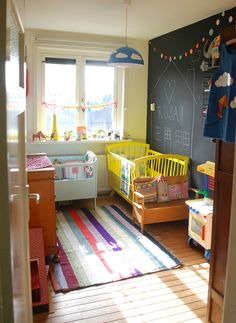 I won't be having a baby, but there are some awesome ideas in this room. Love the chalkboard wall & pennant banner.