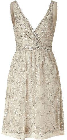 COLLETTE DINNIGAN Antique Silver Sequin Dress