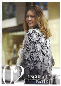 Воздушная шаль из мотивов Crochét flower shawl
