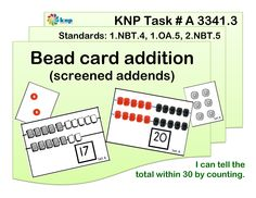 """Bead card addition (screened addends)"" - Tell the total within 30 by counting. Supports learning Common Core Standards: 1.NBT.4, 1.OA.5, 2.NBT.5 [KNP Task # A 3341.3]"