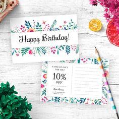 Floral Lula Birthday Postcard for fashion retailers.