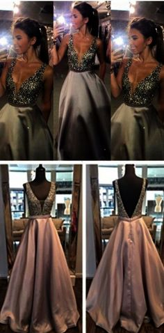 Gray Prom DressesSilver Grey Prom DressSexy Prom DressSequined Prom Dresses2017 Formal GownEvening GownsA Line Party DressSequin Prom Gown For Teens Deep V-neck Open Back Long Prom Dresses Pretty Evening Dresses For Teens