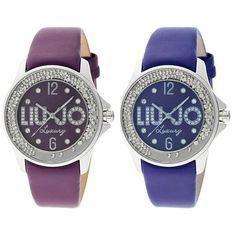 Womens Watch Liu Jo Luxury Dancing Leather Swarovski Plum Blue Purple Lady Dd