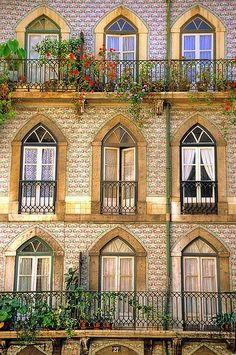 Windows in Alfama, Lisbon Portugal. Beautiful!