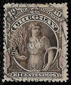 + 1895 Uruguay South America Ceres Goddess of Agriculture #117 A55 10c Lot A