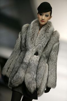 silver fox fur jacket