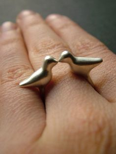 sterling silver pair of birds ring