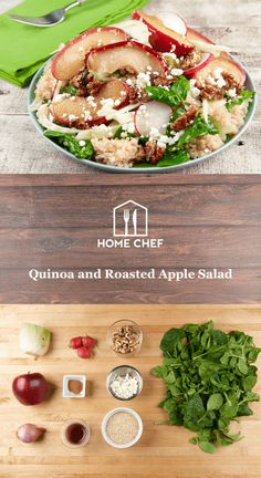 Quinoa and Roasted Apple Salad With Fennel, Goat Cheese, and Cinnamon Toasted Walnuts Superfood Recipes, Salad Recipes, Healthy Recipes, Healthy Meals, Roasted Apples, Apple Salad, Veggie Tales, Home Chef, Fennel